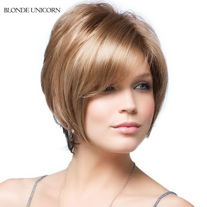 Blonde Unicorn New Arrival Full Lace Human Hair Wigs Elastic Glueless Cap Dark Brown Black Color Short Straight Full Lace Wig