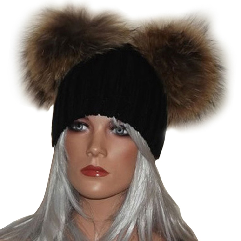 Fashion Winter Hat Women Fur Pompom Knitted Beanie Ladies Girl Warm Knit Cap Hats Women Beanies Bonnet Femme Solid Color Hat F1 autumn winter beanie fur hat knitted wool cap with raccoon fur pompom skullies caps ladies knit winter hats for women beanies