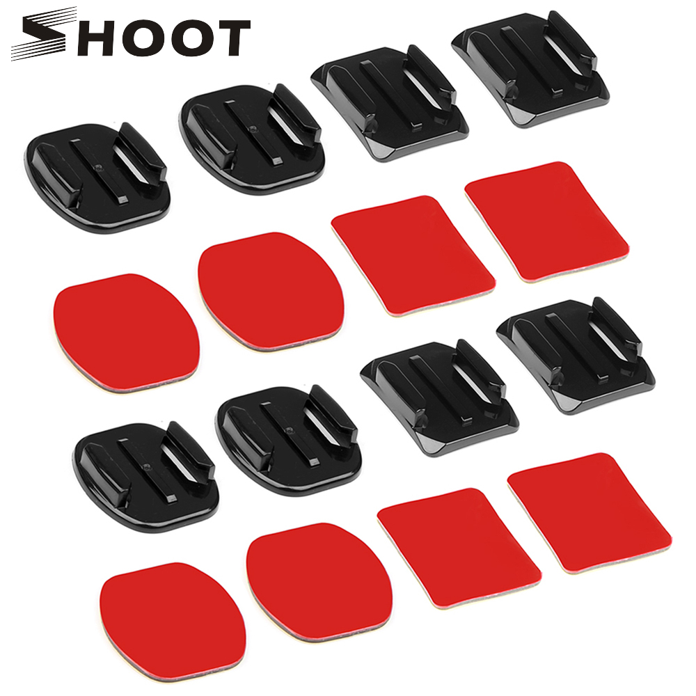 SHOOT Flat Curved Base Mount and Adhesive Stickers Mount for GoPro Hero 7 5 6 Xiaomi Yi 4K Sjcam Sj4000 Go Pro Hero 6 Accessory for gopro hero 4 accessories flat curved adhesive mount base with vhb for gopro hero 5 4 3 session sjcam sj4000 sj6000 h9 kits