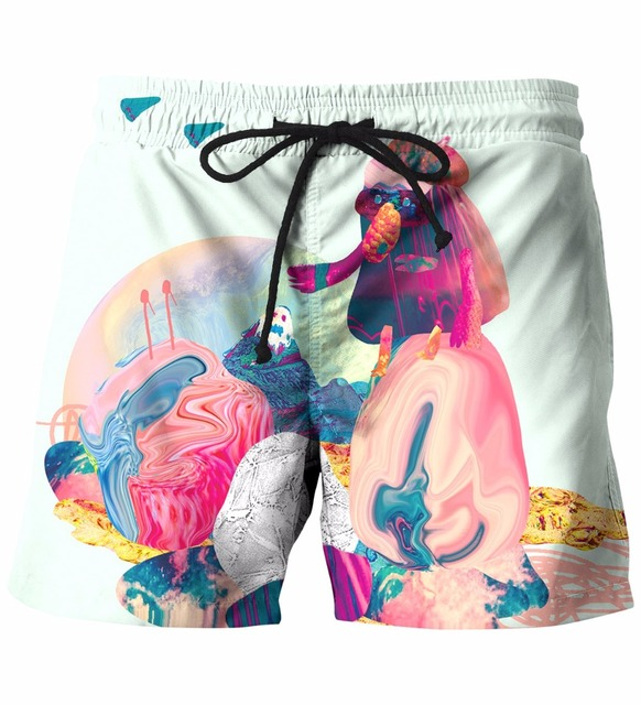 New Arrive 3D Art Style Shorts Mens Hipster Beach Shorts Hip Hop Streetwear Short Pants Board Shorts
