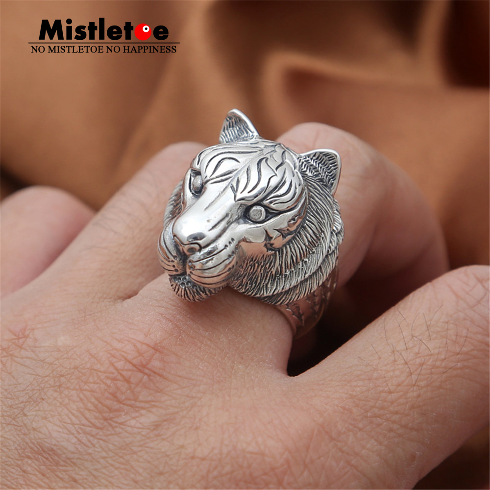 Genuine 100% 925 Sterling Silver Vintage Retro Punk Animal Tiger Ring For Women Men Fashion Jewelry vintage retro 100