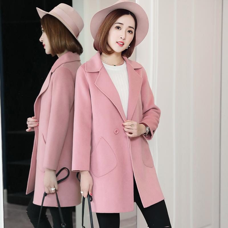New Double Sided 100% Wool Coats Female Long Plus Size Casual 2019 Fashion Jacket Lady Slim Boutique Women Woolen Coat Clothes