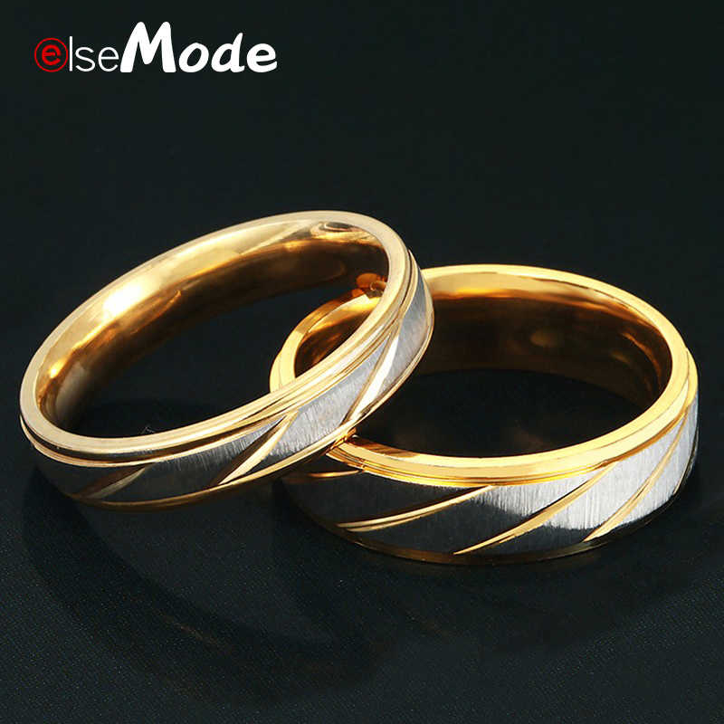 ELSEMODE 1PC 316L Stainless Steel Lover Wave Charms Rings 8 MM Width For Men Women Couple Gold Drop Shipping