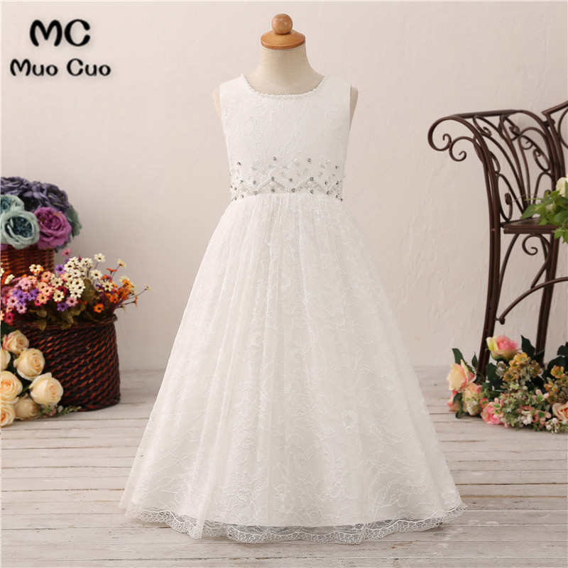 New 2018 Princes Lace   Flower     Girl     Dresses   For Weddings with Pearls First Communion   Dresses   For   Girls   Pageant   Dresses   White Ivory