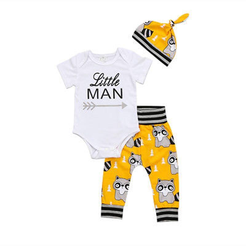 3PCS Set Newborn Baby Boys Clothes Print Letter Little MAN Clothes Cute Romper Pants Hat Outfits Set