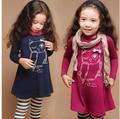 Vestido de manga comprida de algodão menina vestido de princesa meninas coruja dos desenhos animados roupas casuais