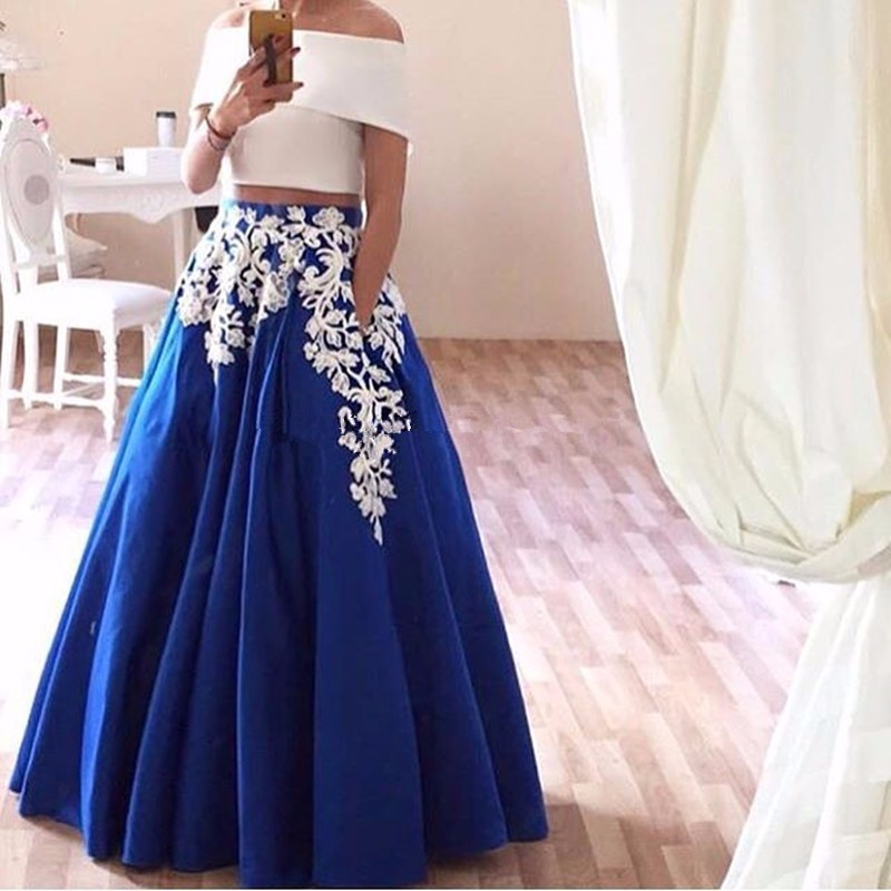 864fe9b89c8 African Nigerian Two 2 Piece Prom Dresses With Pockets 2017 Vestidos De  Formatura Party Royal Blue Yellow Formal Occasion Gowns