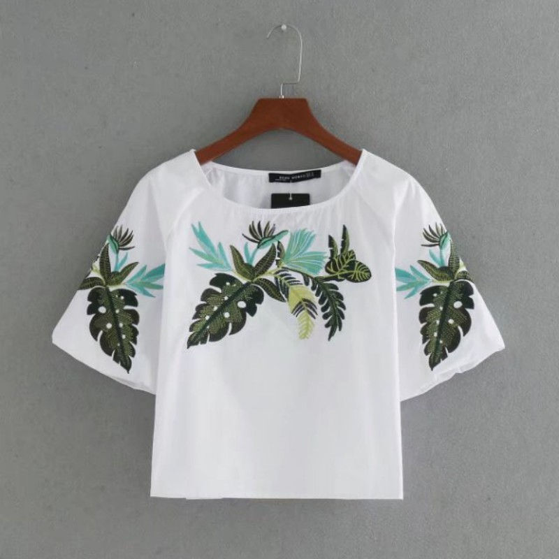 YOU Wearing Store Women Summer Embroidery Shirts O-Neck Short Sleeve Blouse 2017 Women Clothes shirt Tops
