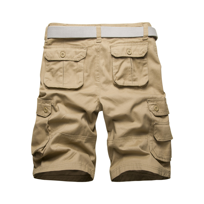 Large Size Men's Cotton Solid Color Multi-pocket Cargo Shorts New Male Straight Loose Working Shorts Tooling Shorts Size 44