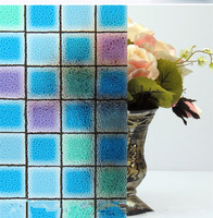 45 100 Cm No Glue Opaque Color Box Mosaic Frosted Window Films PVC Static Cling Self