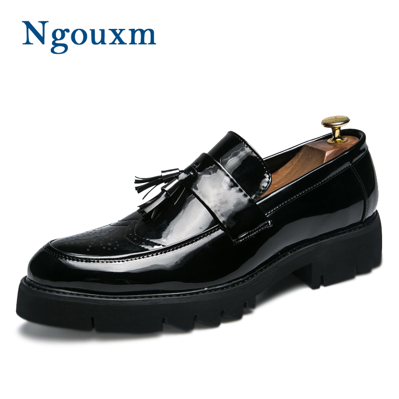 Ngouxm Loafers Men Spring Autumn Patent Leather Tassel Design Men s Casual  Shoes Slip On Breathable Outdoor f413d32d6365
