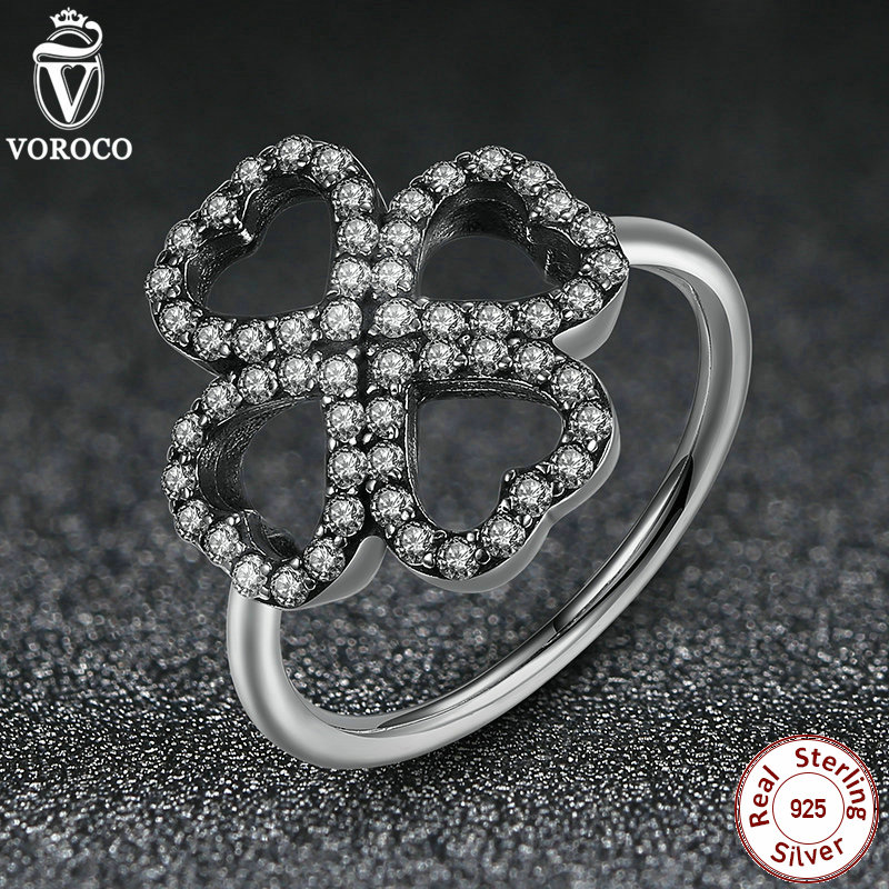 2016 New Rings 925 Sterling Silver 3 Size Clover with Petals of Love Clear CZ Silver