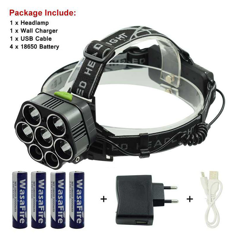 Head Torch Led Super Bright T6 Camping Light 6 Mode Headlight White Blue Light 20000LM 7 LED Headlamp With 4 * 18650 Battery ultrafire u 100 4 led 4 mode 2400lm white bike light headlamp black deep pink