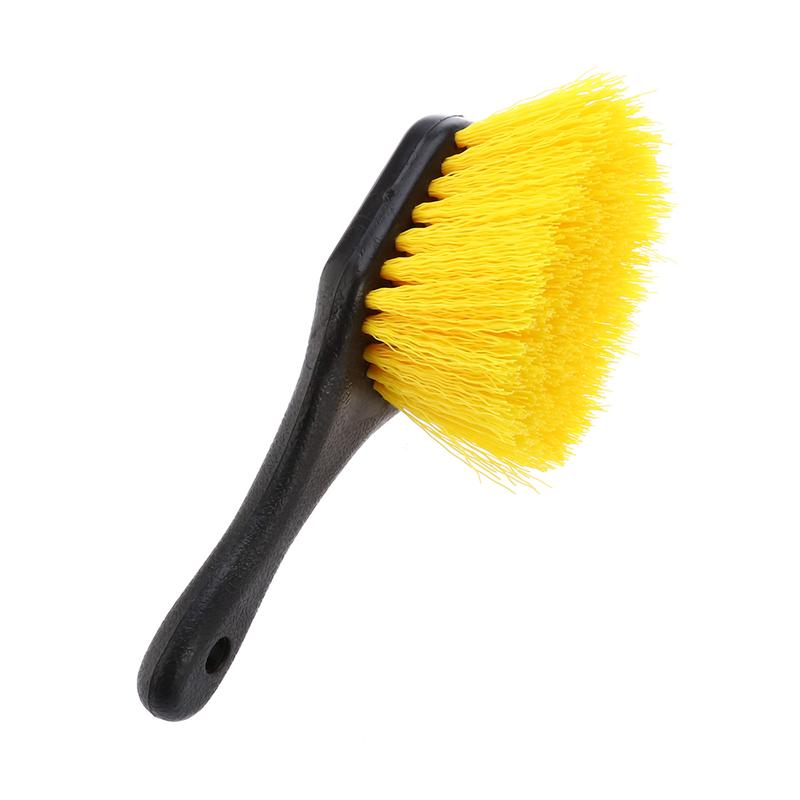 LUOEM Short Handled Wheel Tire Cleaning Brush for Car Auto Wheel Clean (Yellow)