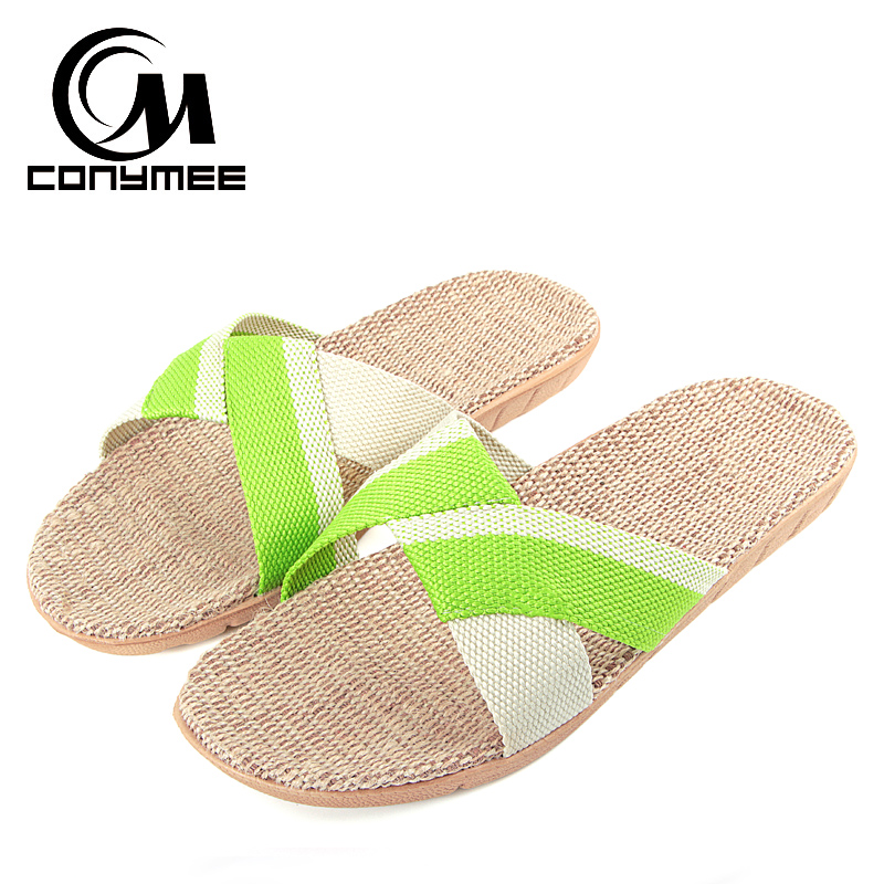 CONYMEE Summer Women's Slippers 2018 Flat Mules Shoes Women Men Casual Sneakers For Home Indoor Flax beach Sandals Flip Flops instantarts women flats emoji face smile pattern summer air mesh beach flat shoes for youth girls mujer casual light sneakers