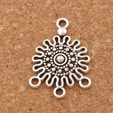 Round Dots Filigree Flower 3-Strand Spacer End Connector Fit Tassel Earrings Jewelry DIY L1539 20pcs 18.6x26.3mm Antique Silver