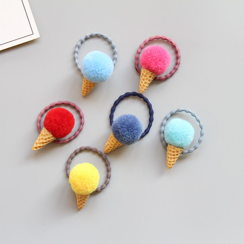 Boutique 60pcs Fashion Cute Mini Pom Pom Icecream Cone Hair Tie Elastic Hairbands Solid Kawaii Cartoon Rubber Gum Rope Headware