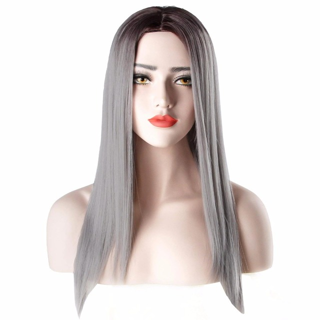 7b2aae7c2 Long Silky Black to Grey Straight Ombre Synthetic Women Wig Cosplay Party Halloween  Costume Wig