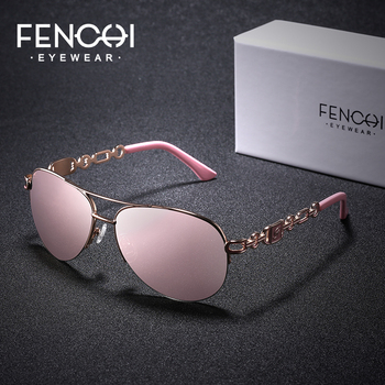 FENCHI Sunglasses Women Driving Pilot Classic Vintage Eyewear Sunglasses High Quality Metal Brand Designer Glasses Oculos De Sol