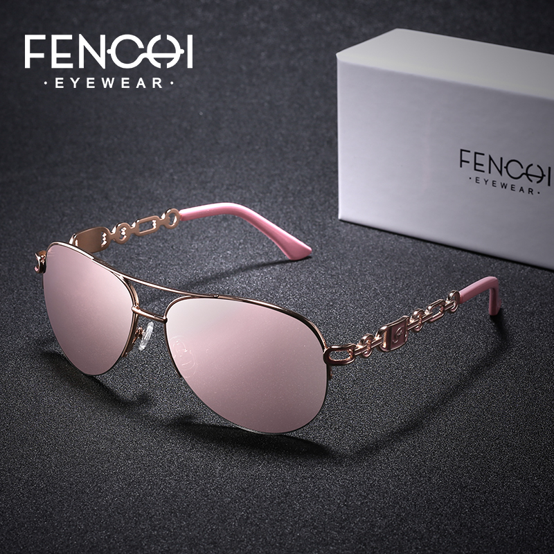 FENCHI Sunglasses Women Driving Pilot Classic Vintage Sunglasses High Quality Metal Brand Designer Glasses UV400 Fashion Pink