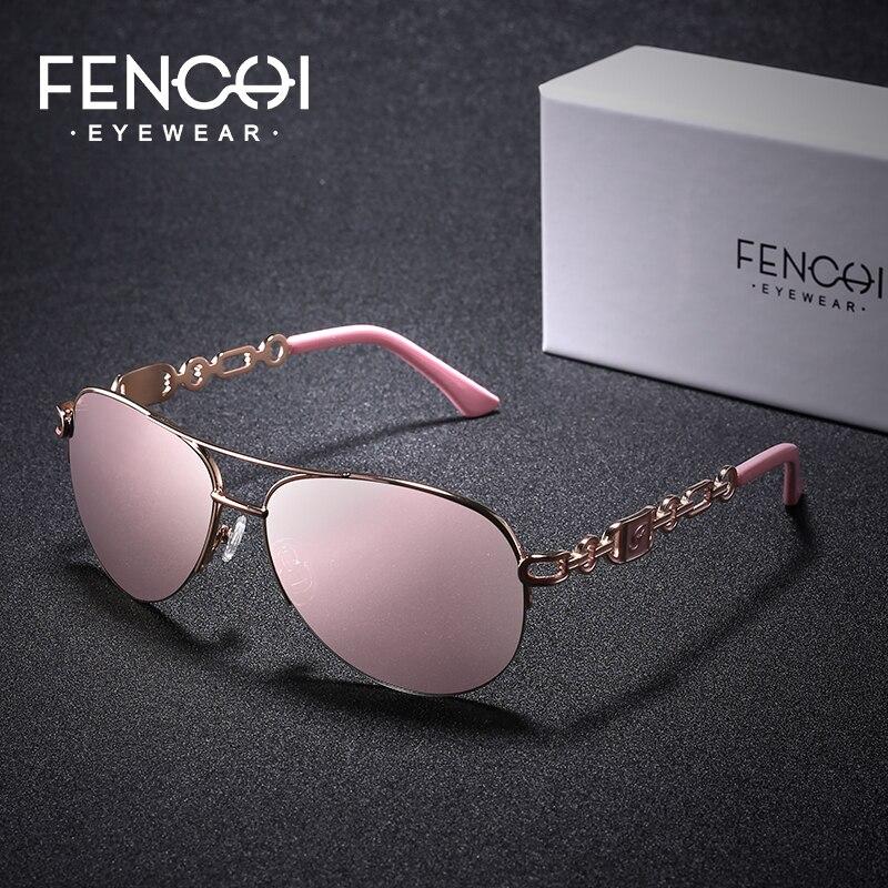 FENCHI mujer gafas de sol de las mujeres 2019 diseñador de la marca de lujo de las gafas de sol de mujer es Aviaton negro Rosa espejo gafas de sol muje
