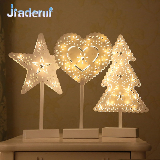 Jiaderui LED Night Lamp Hollow Out Stars Christmas Tree Heart Table Lamp Night Lighting Led Room Decoration Lights Battery Drive