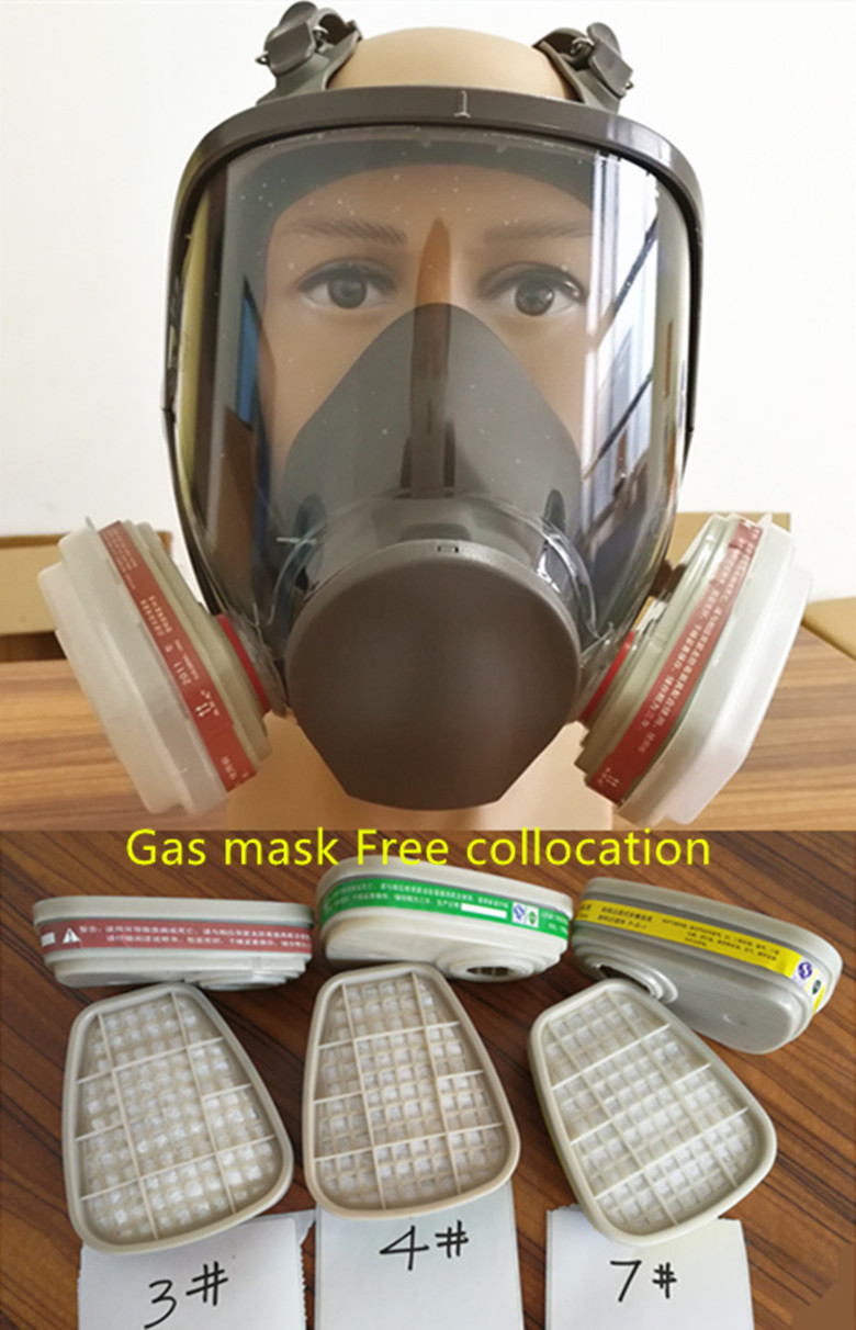 6800 Gas Mask  7pcs suit Full Face Facepiece Respirator For Painting Spraying same 3M 6800 free shipping new style sjl 6200 suit respirator painting spraying face gas mask with goggles paint glasses