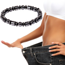 Adjustable Weight Loss Round Black Stone Magnetic Therapy Bracelet Health Care L