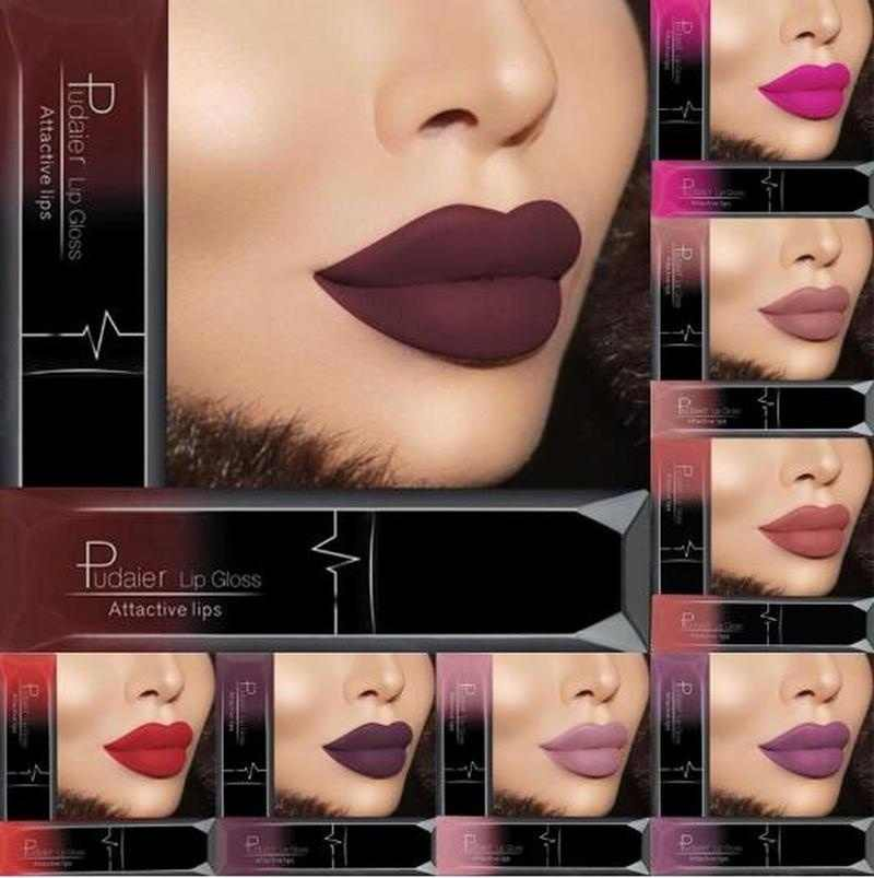 PUDAIER Liquid Sexy Lipstick Long-lasting Lipstick Lips Makeup Cosmetics Waterproof Matte Velvet Lip Gloss Dark Red Nude Lipglos