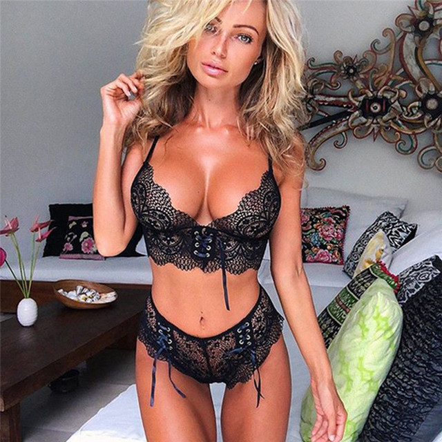 0b0780207f Sexy Erotic Hot Pajama Set Women Lace Thong Black Lingerie Sleepwear 2pcs  Bra Vest Shorts Pajama