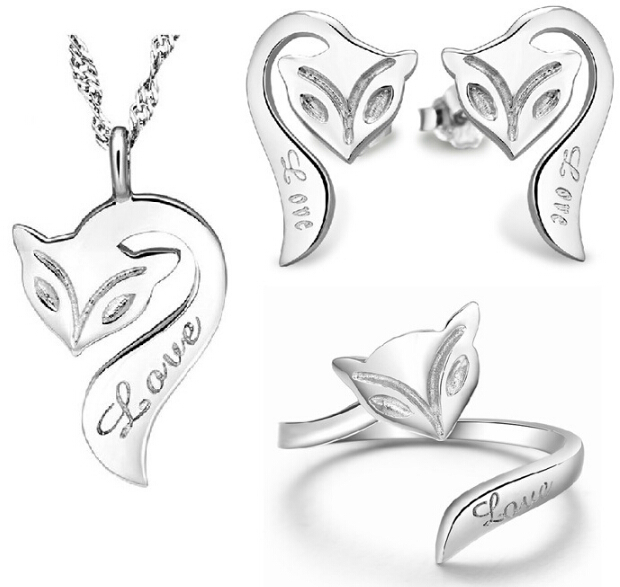 100 Silver 925 AAA Jewelry Sets for Women Fox Necklace Earring Bracelet Solid Silver Free Shipping