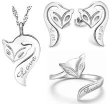 100% Sistemas de la Joyería de Plata 925 AAA para Las Mujeres Fox Collar + Earring + Pulsera de Plata Maciza Envío Libre JN27JE42JB19W