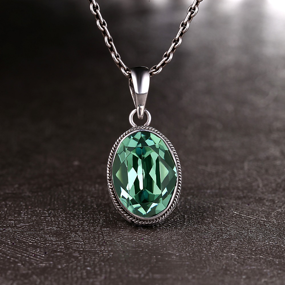 L&P Crystal 100% Silver Pendants For Women Green&Blue Ethnic Style Handmade 925 Sterling Silver Pendant Fine Jewelry WholesaleL&P Crystal 100% Silver Pendants For Women Green&Blue Ethnic Style Handmade 925 Sterling Silver Pendant Fine Jewelry Wholesale