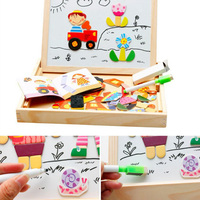 2017 New 7 Types 1 Set Multifunctional Wooden Toys Educational Magnetic Puzzle Farm Jungle Animal Children