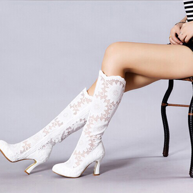 2018 Fashion 3 Inches Beauty Prom Evening Party Dress Shoes Lace Square Heel Mid-calf Bridal Wedding Boots Formal High Heels