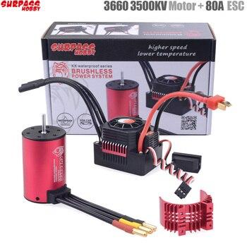 SURPASS HOBBY KK Waterproof Combo 3660 2600KV 3500KV Brushless Motor w//Heat Sink 60A / 80A ESC for RC 1/10 Car
