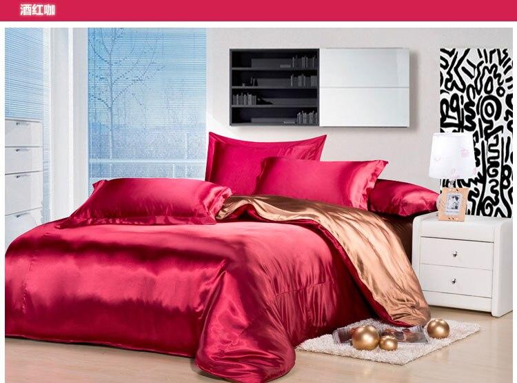 Silk Bedding Set Wine Red Color Beding Set Silk Bed Linen