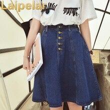 2018 New Denim Plus Size Woman Skirt A-line Jeans Front Button Knee-Length High Waist Saia Jupe Korea Style Women Laipelar