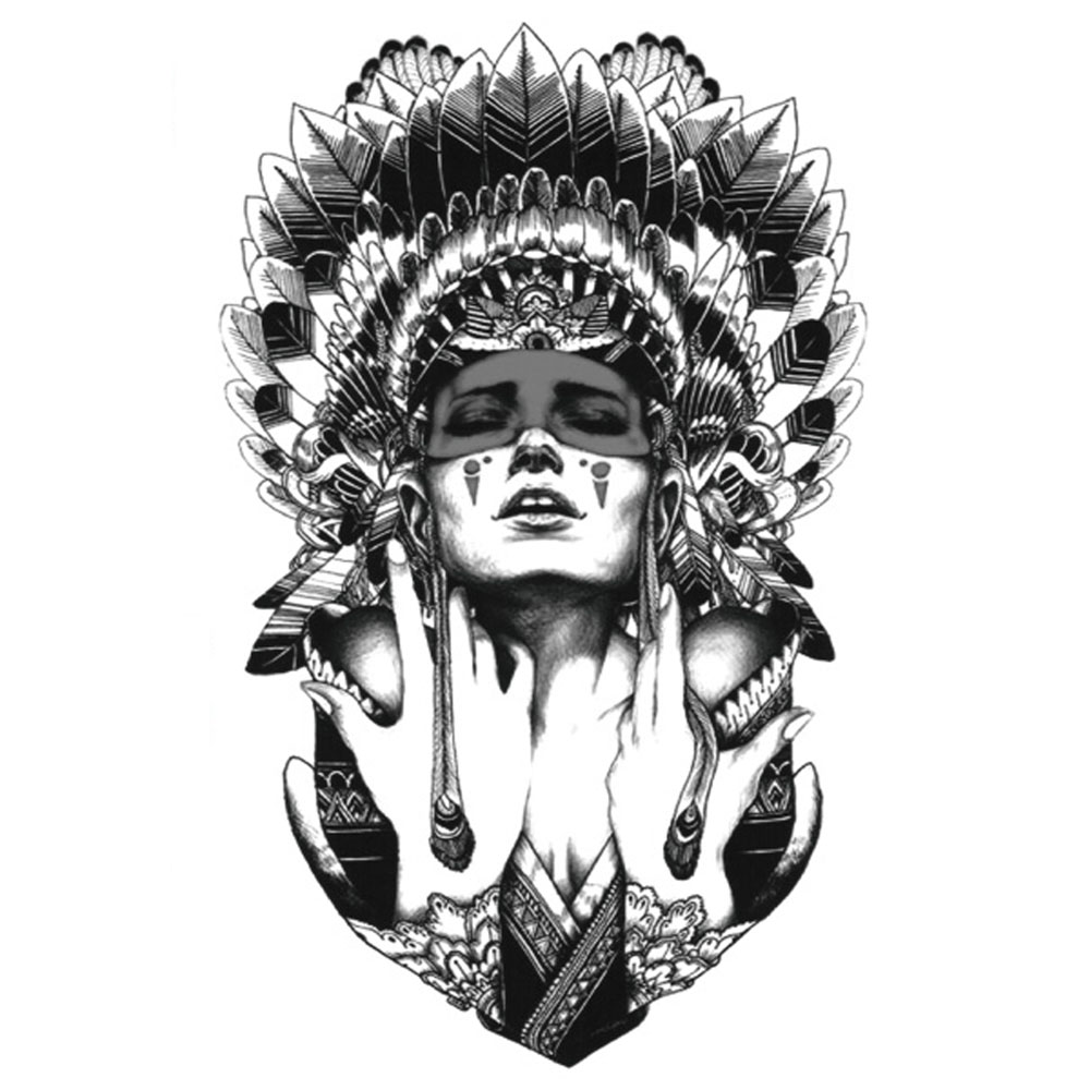Yeeech Temporary Tattoos Sticker for Women Men Old Tribal Feather Lady Designs Fake Large Arm Leg Body Art Waterproof Makeup