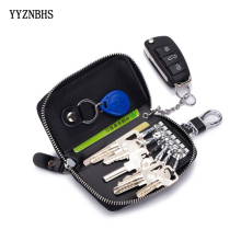 Genuine Leather Women Key Wallets Man Car Bag Zipper Housekeeper Keys Holders Pouch Purse Keychain Covers Organizer Hot