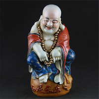 Antique Republic Of Chinese Porcelain Statue Pastry Laughing Buddha Sculpture Painted Crafts Decoration Collection Adornment