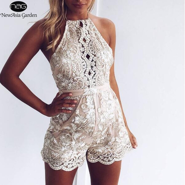 95aa3119321 Backless Halter Lace Crochet Metallic Embroidery Women s Playsuit Summer  Hollow Out Shorts Romper Jumpsuit New 2017