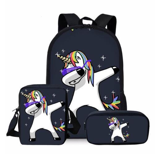 3pcs/set Unicorn School Bag Set For Kids Boys Girls School Backpacks Shoulder Bagpack Children Bookbag Satchel