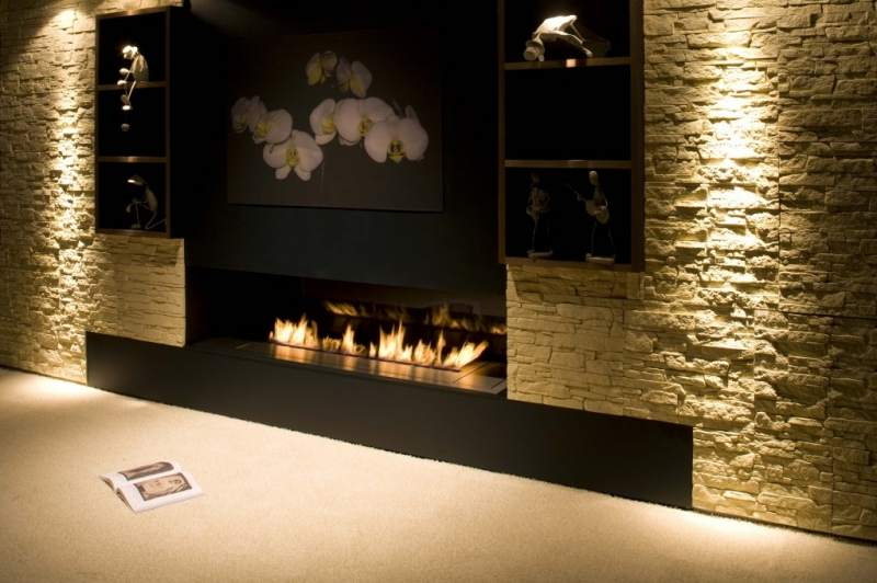 60 Inch Remote Control  Silver Or Black Ethanol Built In Electric Fireplace