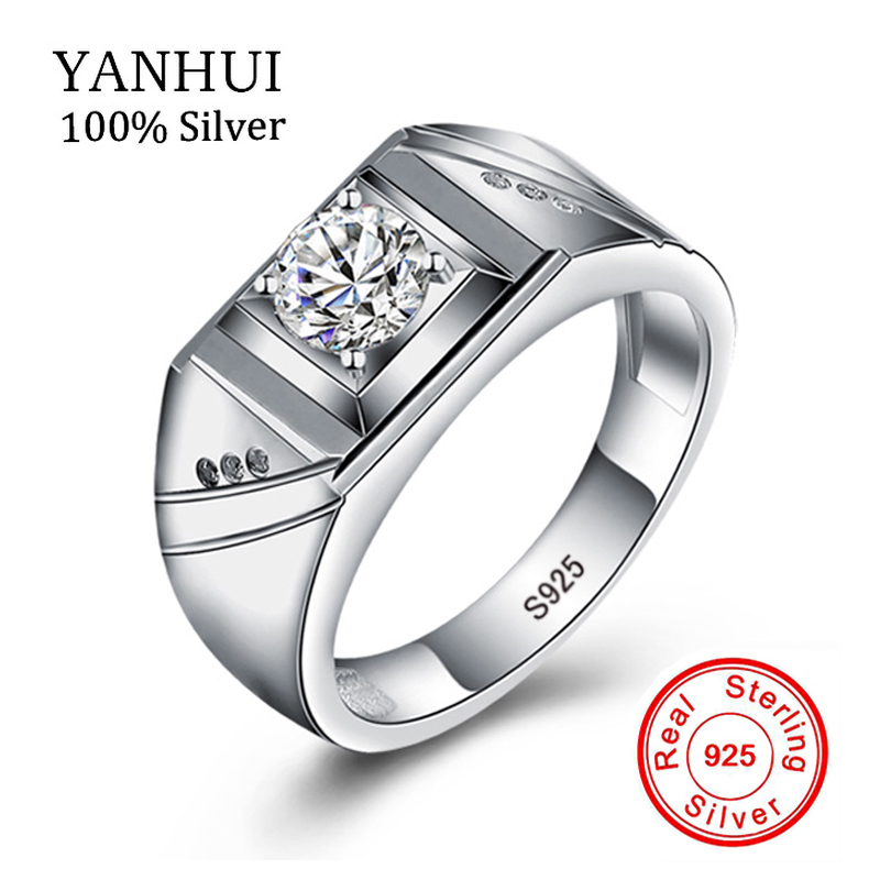 YANHUI Luxury Solid 925 Silver Rings for Men Set 6mm 1 Carat Diamant Engagement Wedding Rings