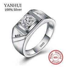 YANHUI Élite del Macizo de 925 Anillos de Plata para Los Hombres Conjunto 6mm 1 Carat Diamant Engagement Wedding Rings De Joyas Para Hombre MJZ002