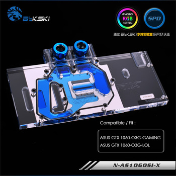 Bykski Full cover water Cooling block for ASUS GTX 1060-O3G-GAMING,GPU Cooler for ASUS GTX 1060-O3G-LOL VGA Block,N-AS1060SI-X