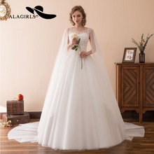 Alagirls 2019 New Designed A Line Wedding Dress With Long Shoulder Veil  Lace Beaded Gown Up Bridal