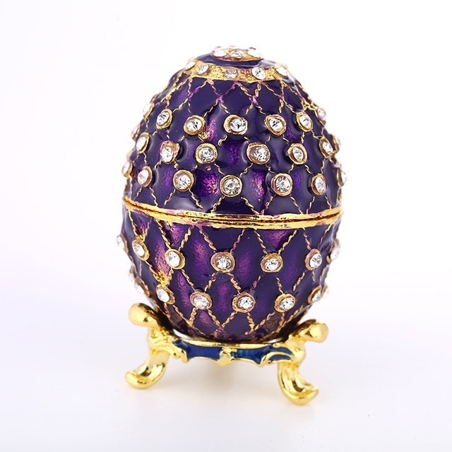 Birthday Gift Home Decoration Faberge Russia Eggs Crystal Souvenir Jewelry  Trinket Box Easter Egg Magnet Metal b8fdf63b925d