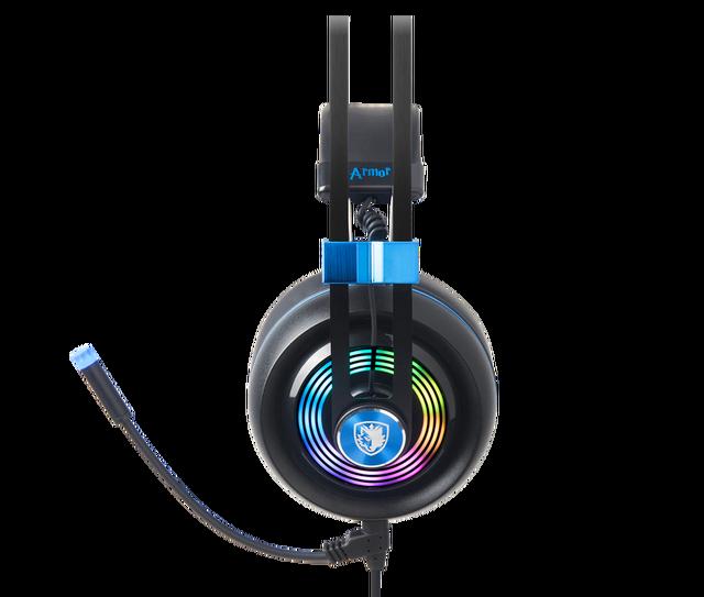 SADES Armor USB Gaming Headset Realtek Gaming Audio Lightweight RGB Lighting Noise-cancellation For PC 4